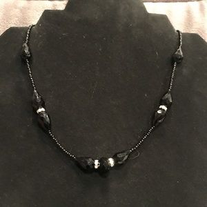 Black Beads and Silver Rhinestone Necklace